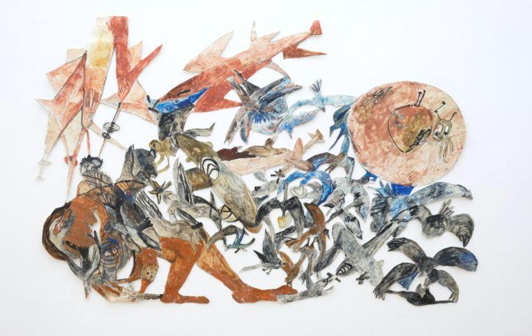 Nu te zien in Z33: Anna Boghiguian, Attack, 2017, Pencil, paint, encaustic on paper 107 x 160 cm. Courtesy of Silvia Fiorucci Collection.  z33 Beeld z33