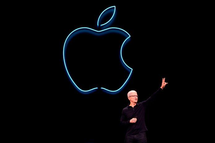 Tim Cook, le CEO d'Apple, lors de la keynote de 2020.