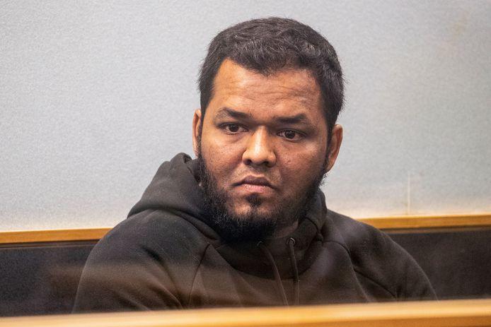 Archiefbeeld. Terreurdader Ahmed Aathill Mohamed Samsudeen tijdens een zitting bij de rechtbank in Auckland. (07/08/2018)