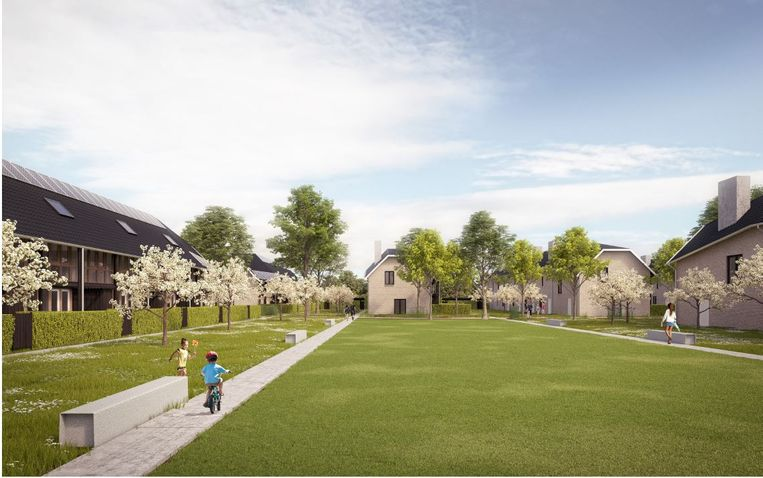 Een simulatiebeeld van de verkaveling Ooststraat, met 7 blokken van 48 woningen.
