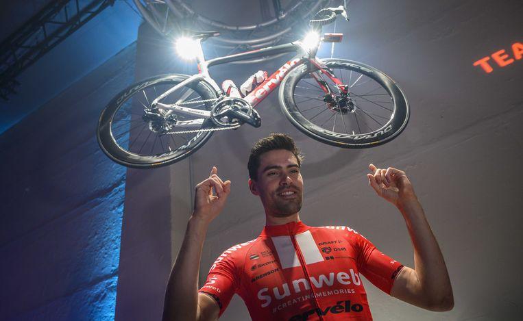 Tom Dumoulin van Team Sunweb tijdens een perspresentatie in Berlijn.  Beeld ANP