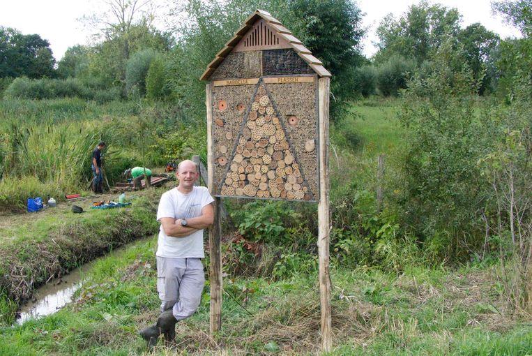 Een voorbeeld van hoe een bijenhotel er kan uitzien.