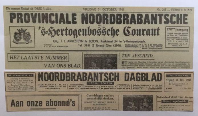 De laatste edities van De 'Provinciale' en Het Huisgezin van 31 oktober 1931 vóór de door de bezetter opgelegde fusie.