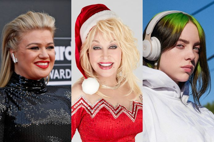 Van links naar rechts:  Kelly Clarkson, Dolly Parton en Billie Eilish