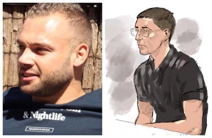 Slachtoffer Bas van Wijk (24). Rechts: rechtbanktekening van verdachte Samir El Y. (20).