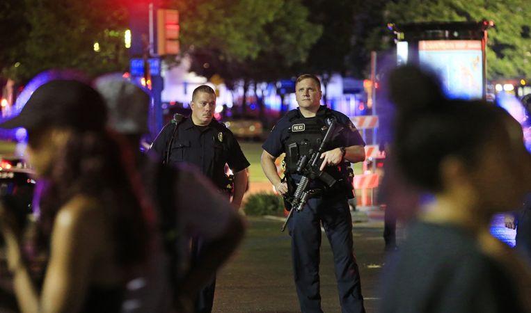 Politiebewaking in Dallas Beeld afp