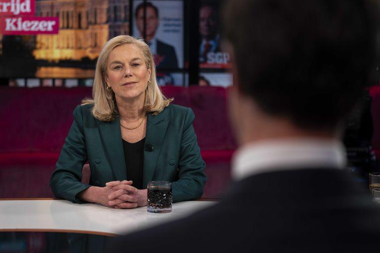 D66-lijstrekker Sigrid Kaag tijdens een uitzending van 'De Strijd om de Kiezer'. Beeld ANP