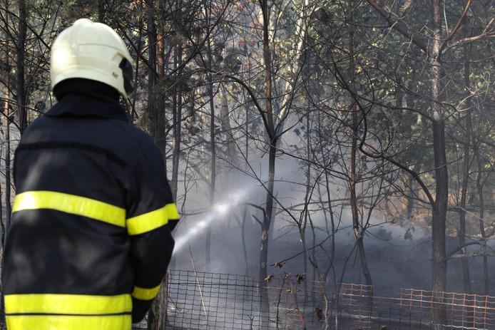 De brandweer is druk bezig met nablussen.