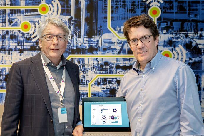 Marcel Damen van Fair Care (rechts) en Pierre van Kleef die namens Midpoint Brabant steun aan het project heeft verleend.
