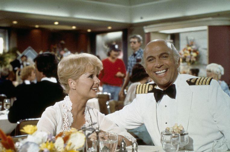 Gavin MacLeod (rechts) in 1979 als kapitein Merrill Stubing Beeld ANP Kippa