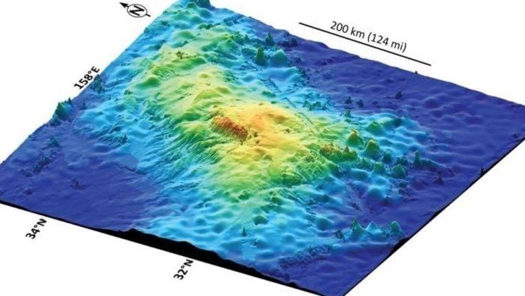 Een 3D-beeld laat zien hoe uitgestrekt de Tamu Massif is. Beeld Nature