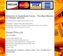 Screencap van de website van GoldBankCards, waarop het laatste aanbod van gestolen creditcards staat.