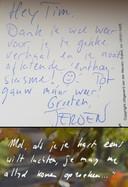 Lijkt het handschrift van de Mol (onder) op dat van Jeroen Kijk in de Vegte (boven)?