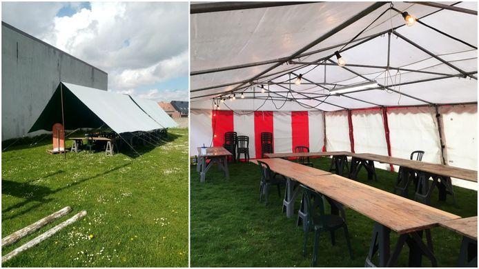 Je kunt de tenten vinden op het Kerelsplein in Zwevezele en in de tuin van de CM in het centrum van Wingene