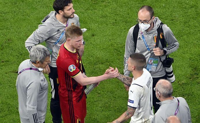 Kevin De Bruyne sur la pelouse contre l'Italie: encore un miracle du staff médical des Diables.