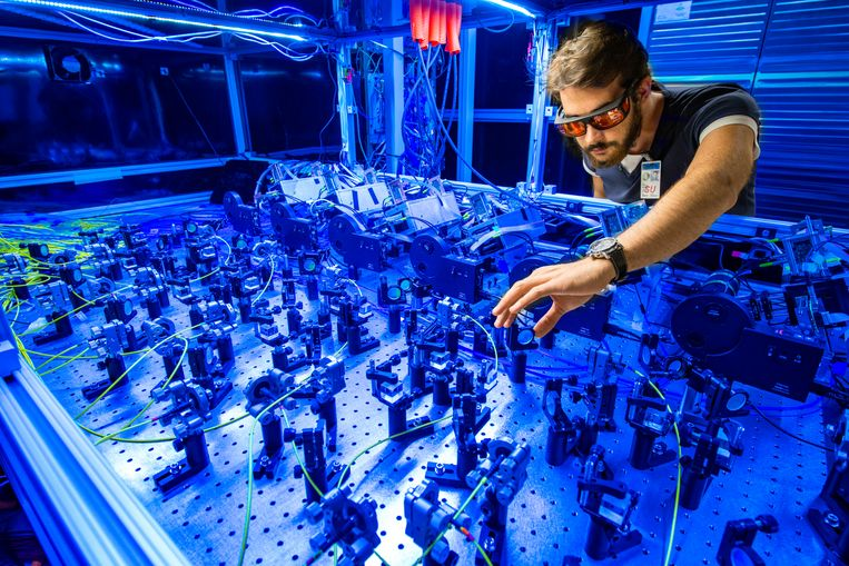 A scientist at work on the so-called Muon g-2 experiment.  Image Fermilab