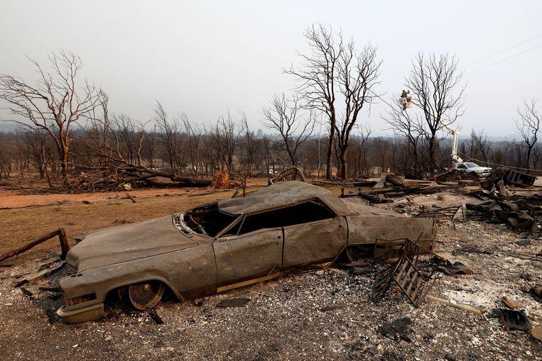 Ravage aangericht door de brand 'Carr'