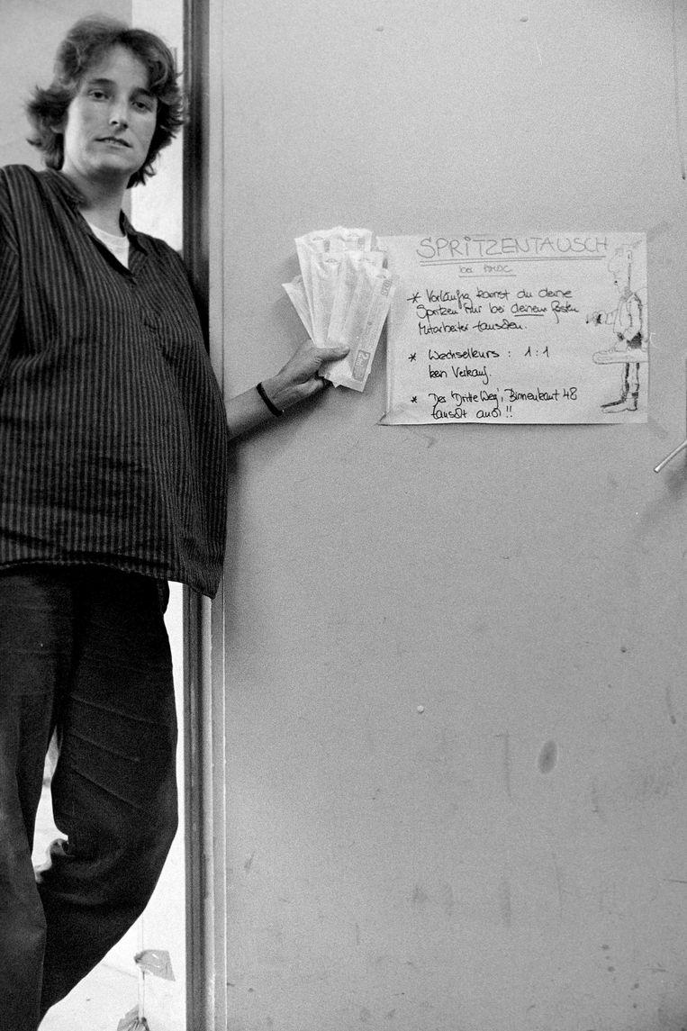 Aki Herlyn in 1986. 'Wij ruilden oude spuiten voor nieuwe en gaven meteen voorlichting.' Beeld Torsten Schmidt (www.tschmidt.works)