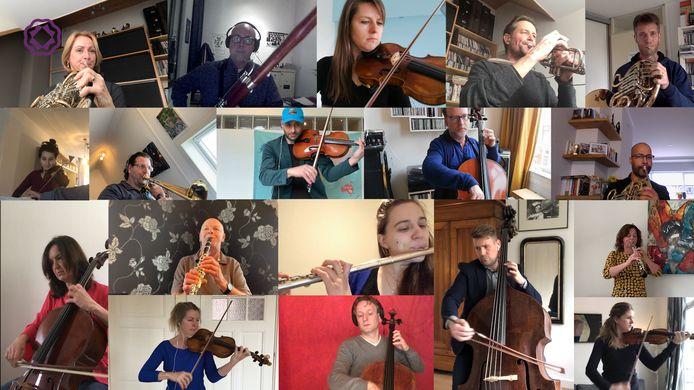 De muzikanten spelen het stuk thuis in.