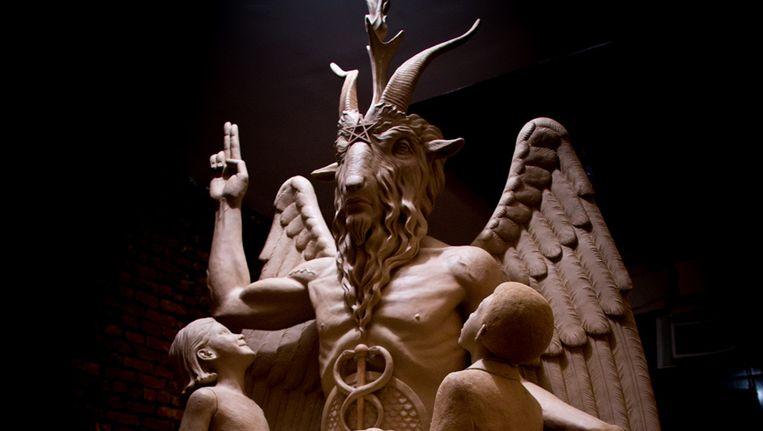 Een afbeelding van Baphomet, zoals onthuld door de Satanic Temple. Beeld ap