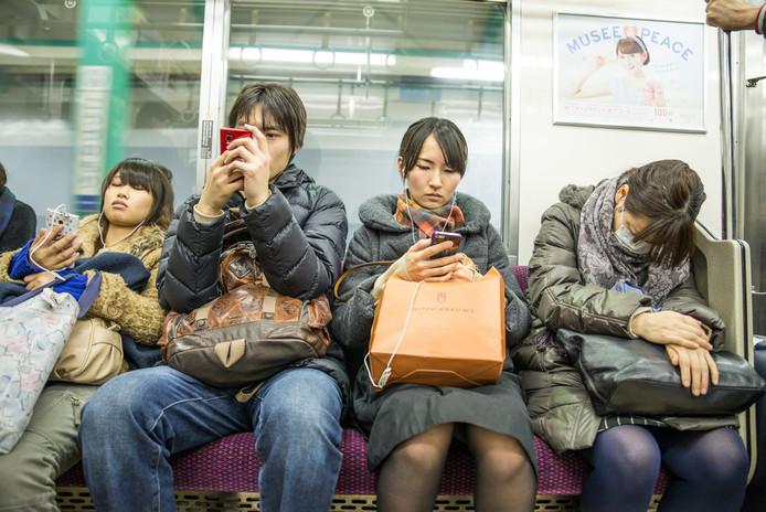 Foto ter illustratie. Spitsuur in Tokio, Japan.