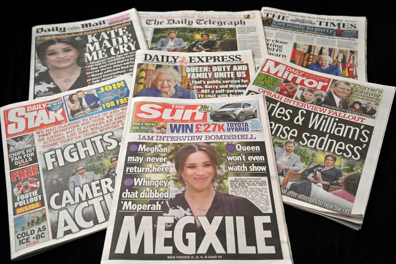 De voorpagina's van de Britse kranten stonden veelvoudig in het teken van het interview.