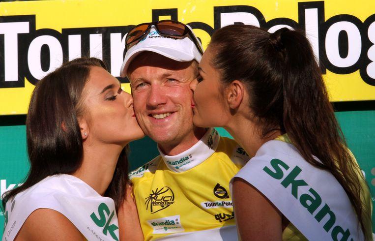 Weening viert zijn eindzege in Ronde van Polen. Beeld EPA