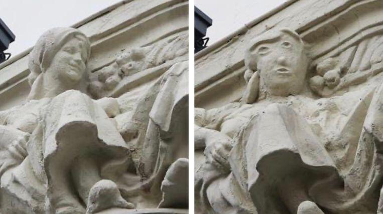 Een bijbels beeldhouwwerk op het gebouw van een bank in de Spaanse stad Palencia, voor en na de restauratie. Beeld