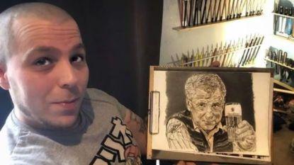 """Matthias (29) tekent zijn held Johny Voners: """"Ik hoop dat de tekening tot bij zijn vrouw komt"""""""