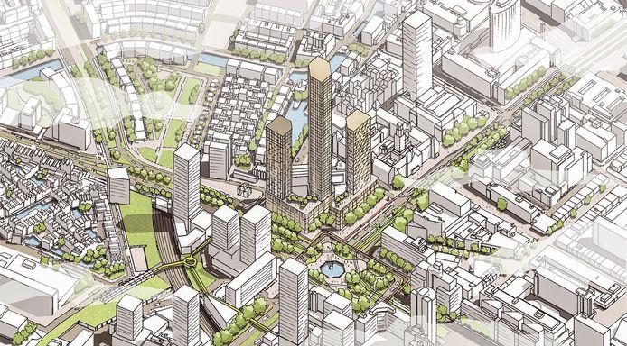 Impressie van het nieuwe megaproject aan het Hofplein.