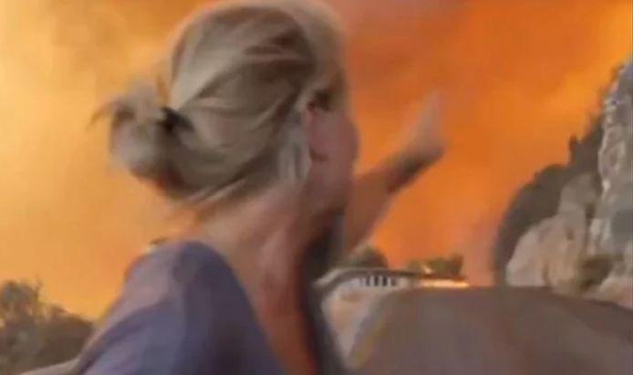 Alex Crawford, correspondante pour la chaîne britannique Sky News, a failli se retrouver coincée par les flammes.