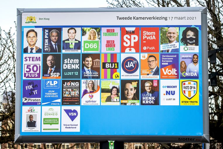 De posters van de partijen die aan de landelijke verkiezingen meedoen. Beeld ANP