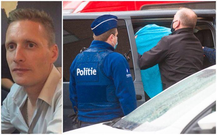 Links: Slachtoffer David Polfliet. Rechts: De verdachten terwijl ze voor de jeugdrechter in Dendermonde verschijnen.