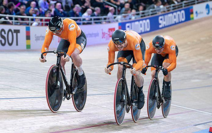 Roy van den Berg, Harrie Lavreysen en Jeffrey Hoogland.