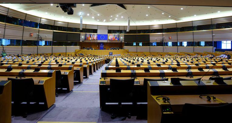 Het Europese parlementsgebouw liep in Brussel als eerste leeg.  Beeld Getty Images