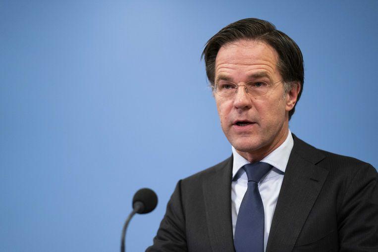 Demissionair premier Mark Rutte reageert op het oordeel van de rechtbank in Den Haag dat de avondklok per direct moet worden opgeheven, onder meer vanwege de gebrekkige juridische onderbouwing.  Beeld ANP