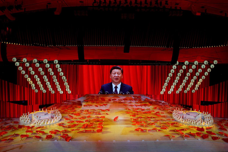 President Xi Jinping tijdens een jubileum-feest van de communistische partij, die dit jaar 100 jaar bestaat. foto REuters Beeld REUTERS