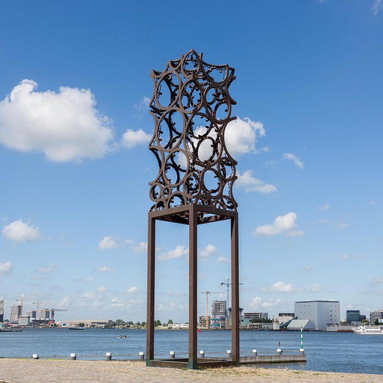 Het naamloze werk van Geelen op de Westerdoksdijk. Beeld Nina Schollaardt