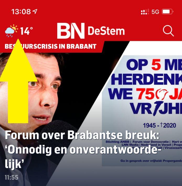 Linksboven in de BN DeStem-app vind je de knop voor het weerbericht.