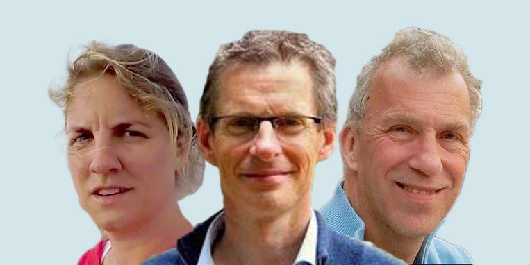 Aimée Slangen (klimaatonderzoeker NIOZ), Bart van den Hurk (expert weer en klimaat Deltares) en Rein Haarsma (atmosfeerexpert KNMI). Beeld
