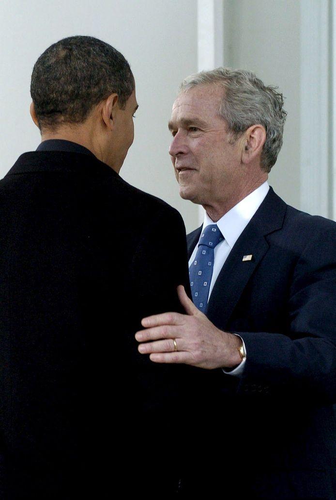 Barack Obama en George Bush in 2008.