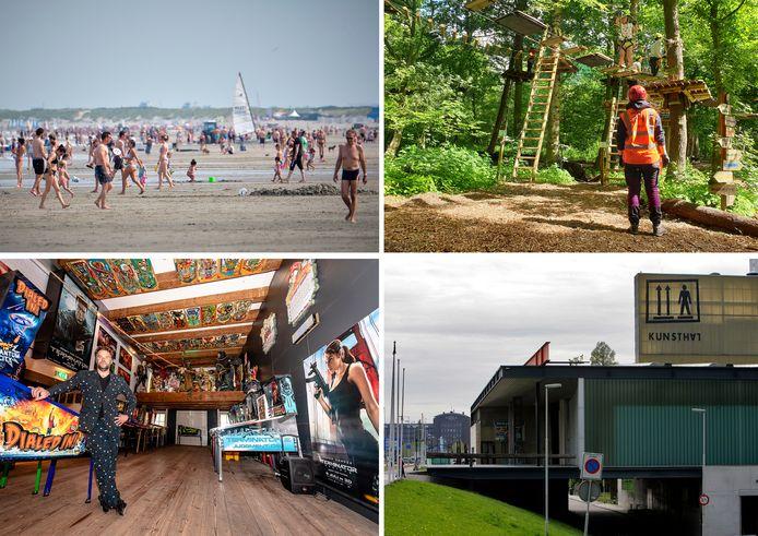 Het strand, Fun Forest, Dutch Pinball Museum en de Kunsthal.