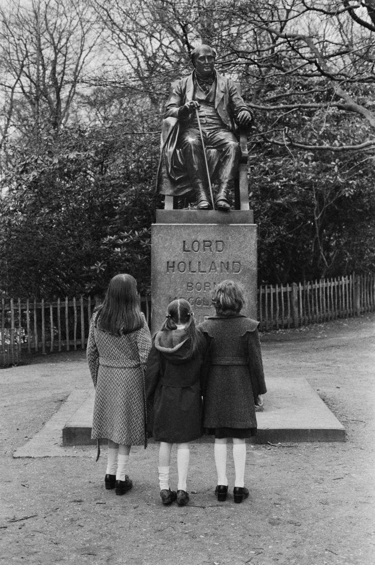 Standbeeld van Henry Vassall-Fox, de derde Baron Holland (1773 - 1840) in Holland Park, Londen. Beeld Getty Images