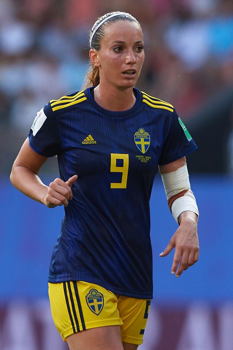 Kosovare Asllani is dochter van vluchtelingen uit Kosovo, tevens rolmodel in het nieuwe Zweden. Beeld Getty Images