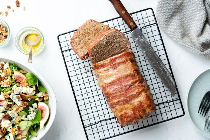 Gehaktbrood met vijgensalade.