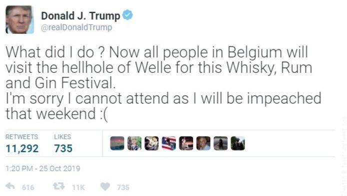 """""""Er circuleert op het internet wel een tweet van president Trump, waarin hij het specifiek heeft over het Whisky Festival in Welle, maar we betwijfelen de echtheid van die screenshot. Dat zou wel eens fake news kunnen zijn"""", klinkt het bij de vzw TVOZ."""