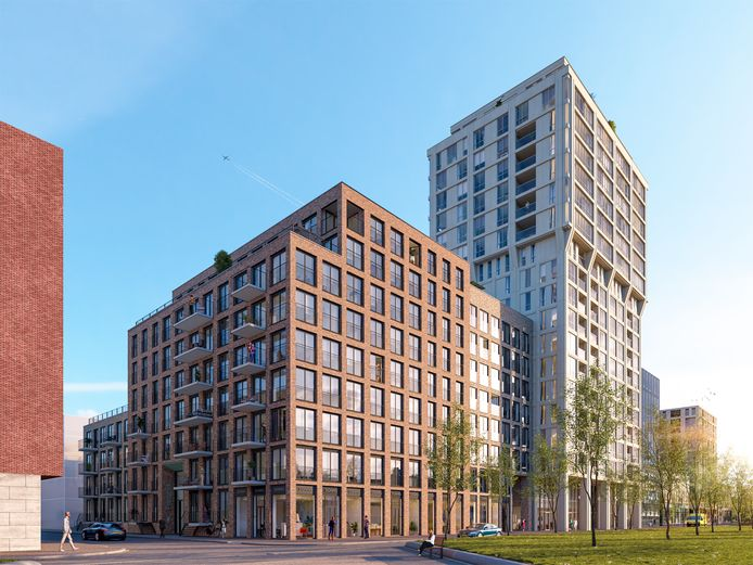 Woontoren Frits, onderdeel van S-West-project op Strijp-S, Torenallee, naast school SintLucas (rechts op de illustratie nog net te zien). Op de voorgrond blok Frederik (91 huurwoningen) dat tegelijk gebouwd wordt. Een ontwerp van Jeroen Schippers voor MRP Development.