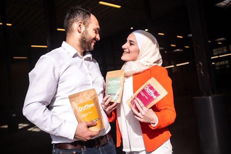 De Syrische Rahaf Al Lymoni en haar man Tamim Kbar.  Beeld Joris van Gennip
