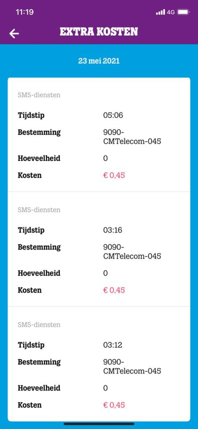 Aan een afschrift van een van de televoters is te zien dat ook als de persoon een sms ontving met de melding dat een stem niet was meegeteld er wel 0,45 euro werd afgeschreven van de rekening.