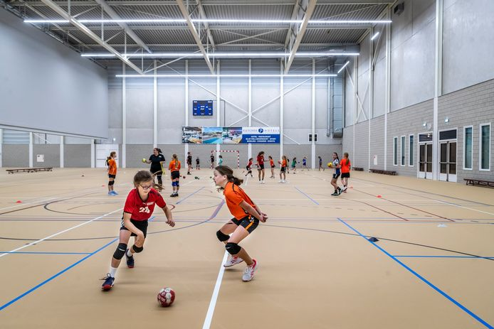Handbalschool Brabant geeft training aan jonge talenten uit de regio in de sporthal van Fletcher hotel.